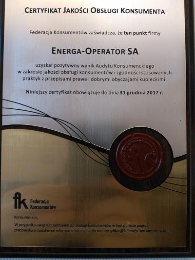 Energa z Certyfikatami Jakości Obsługi Konsumenta