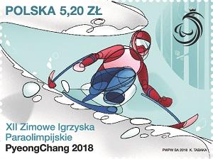 """Znaczek Poczty Polskiej """"XII Zimowe Igrzyska Paraolimpijskie PyeongChang 2018"""""""