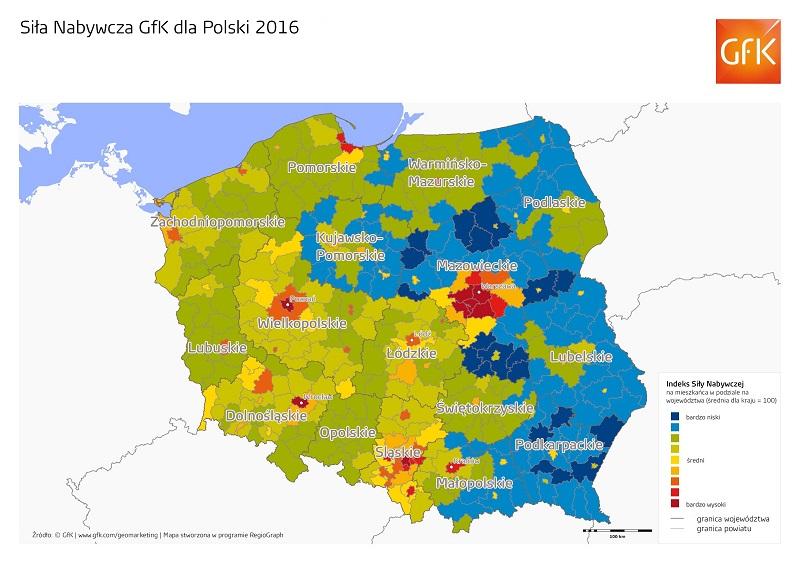 Siła nabywcza mieszkańców Polski per capita w 2016 roku wyniosła 6 366 euro (27 397 PLN)