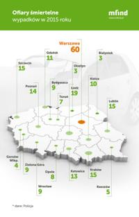 Raport: Wypadki drogowe w Polsce w 2015 r. W Warszawie zginęło aż 60 osób!